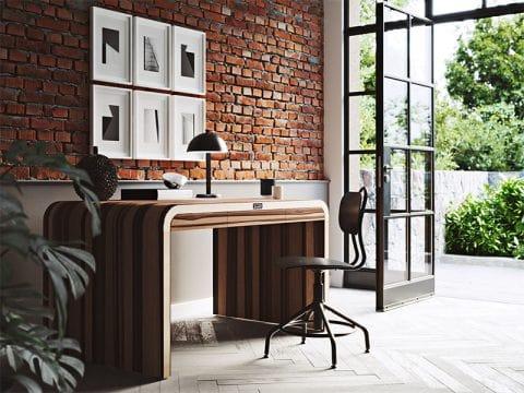 Wizualizacja pokoju z biurkiem, obrazami na ścianach i szklanymi drzwiami