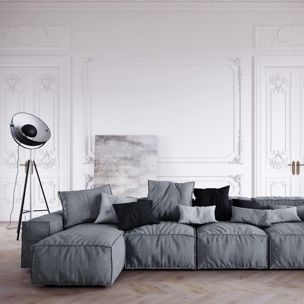 Wizualizacja salonu o białych ścianach z szarą sofą